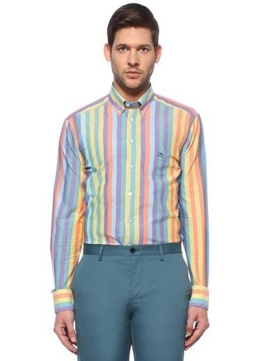 Etro Etro Polo Yaka Çizgi Desenli Gömlek 101617672 Renkli